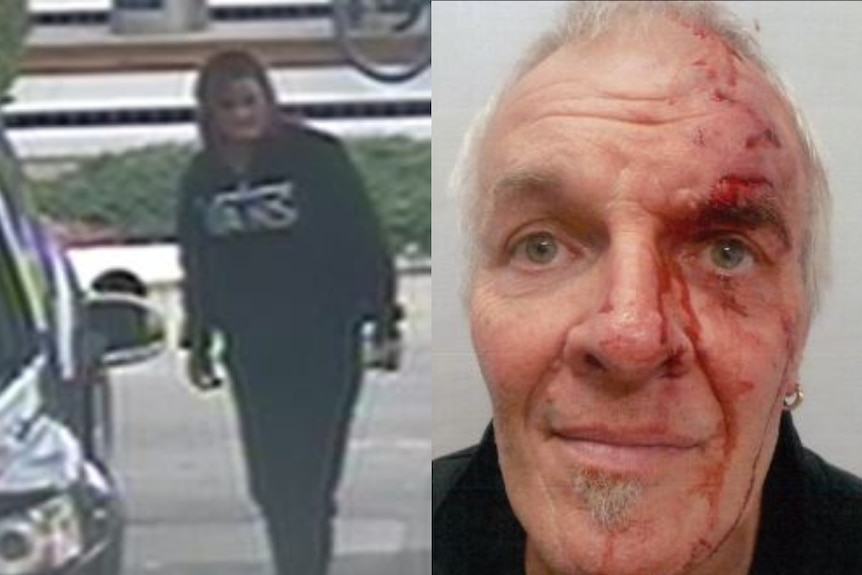 A woman standing next to the Holden before the attack (left) and the injured driver with a bloodied face (right).
