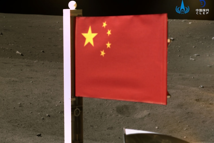 Chinese flag on moon