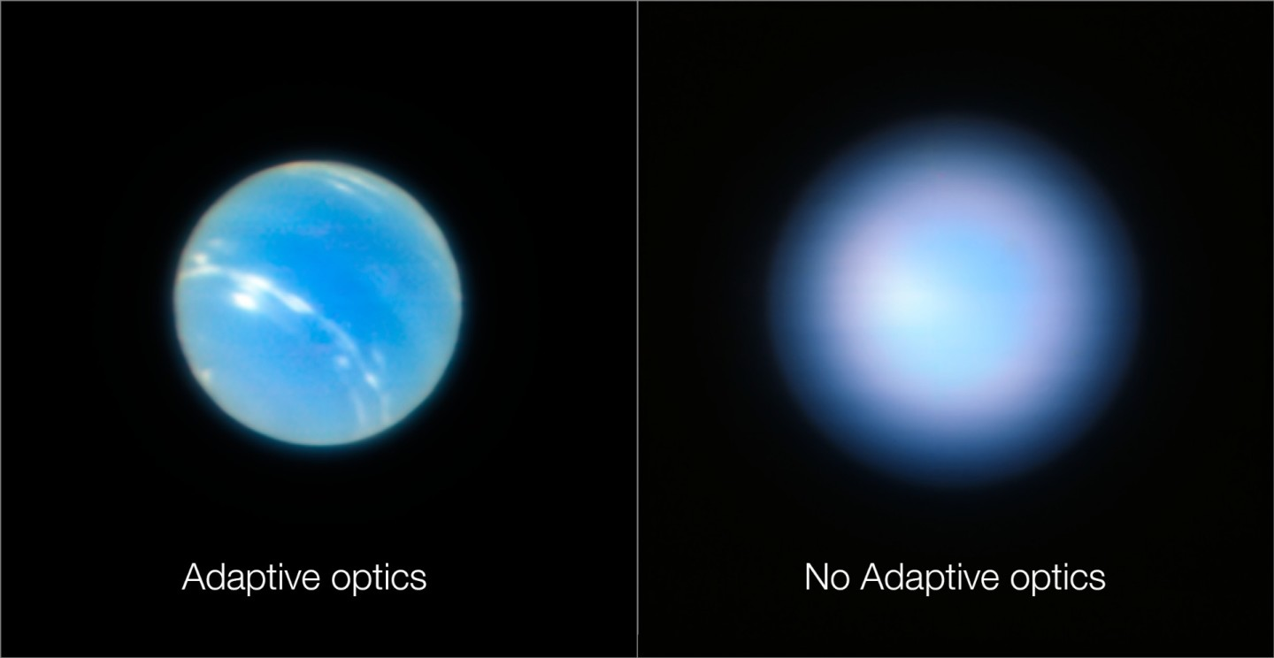 Sharp and blurry images of Neptune