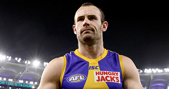 A head and shoulders shot of Shannon Hurn at Perth Stadium.