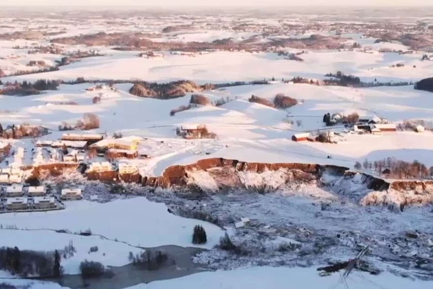 Still image taken from drone footage showing the extent of the damage caused by a landslide at the village of Ask in Norway.