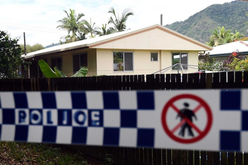 Police tape around a Manoora house in Cairns