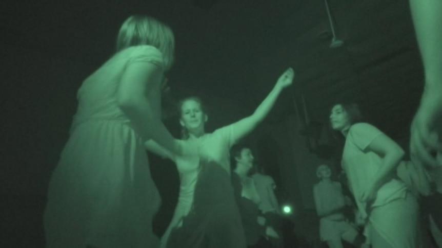 Dancers at a No Lights No Lycra event in East Brunswick, Melbourne