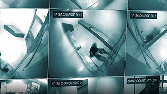 Surveillance vision of a cell inside a Brisbane jail.