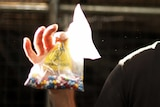 A man holds a medical waste bag, with a lot of colourful pills inside it.