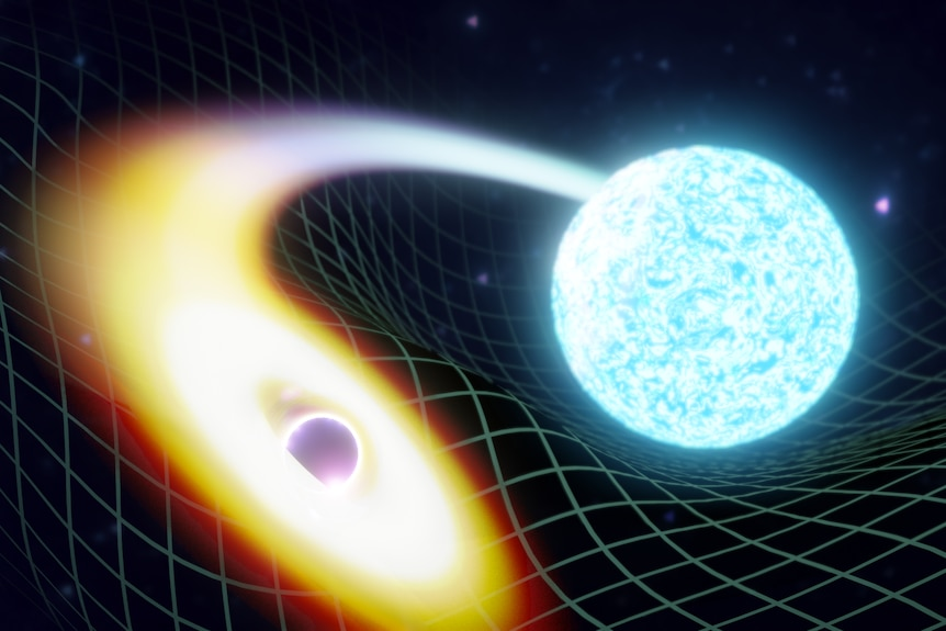 Artist's illustration of a merging black hole and neutron star.