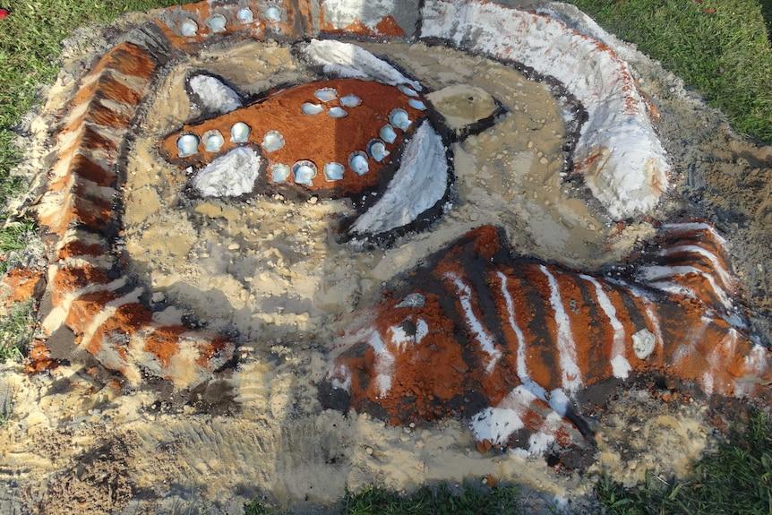 North Stradbroke Island turtle sand art