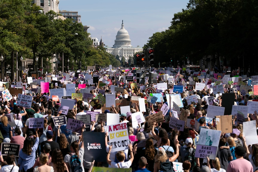 a crowd of women march toward the US Capitol building in Washington DC