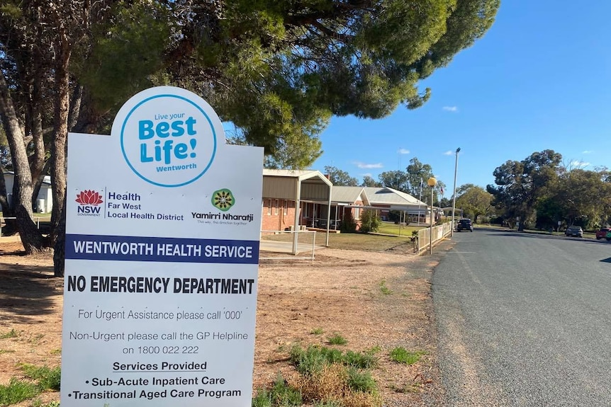 A sign outside a building says 'Wentworth health service: no emergency department'.
