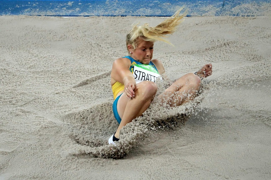 Brooke Stratton lands in the sand