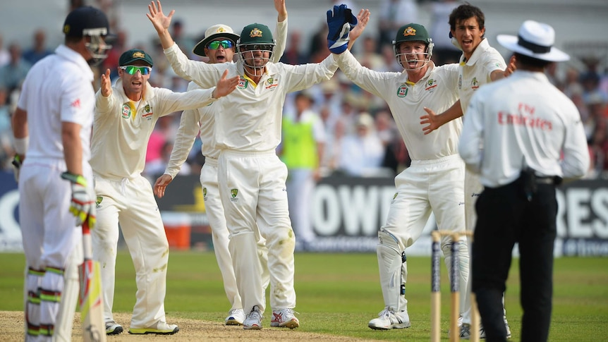 Australia appeals unsuccessfully for the wicket of Stuart Broad