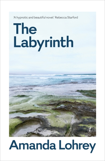 Amanda Lohrey's The Labyrinth book cover, an image of rockpools and an ocean