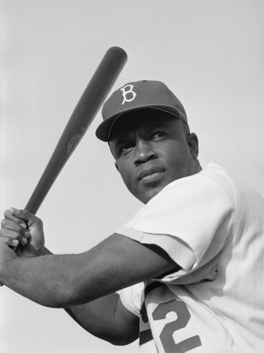 Former US baseball player Jackie Robinson, the first African American to play in Major League Baseball.