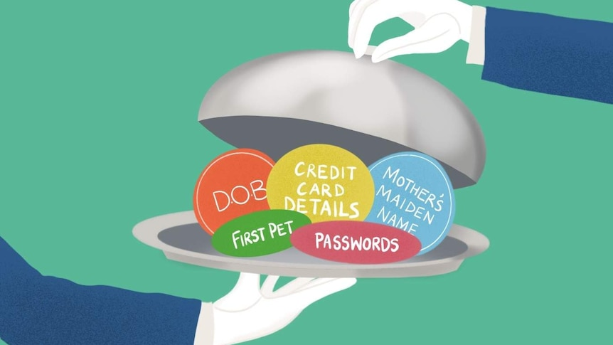 "An illustration showing cards like ""first pet"" and ""passwords"" being served on a silver dish."