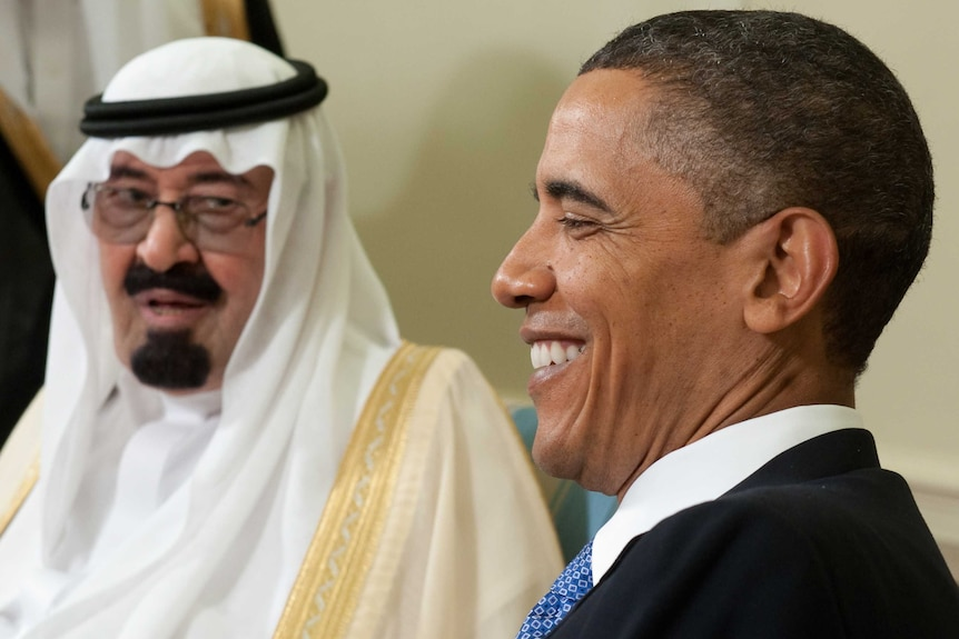 Barack Obama meets King Abdullah in the Oval Office in 2010.