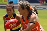 Brid Stack playing for the Giants in their AFLW practice match against Adelaide at Norwood Oval in Adelaide on January 17, 2021.