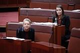 Bridget McKenzie, Perin Davey in Senate. June 23, 2021