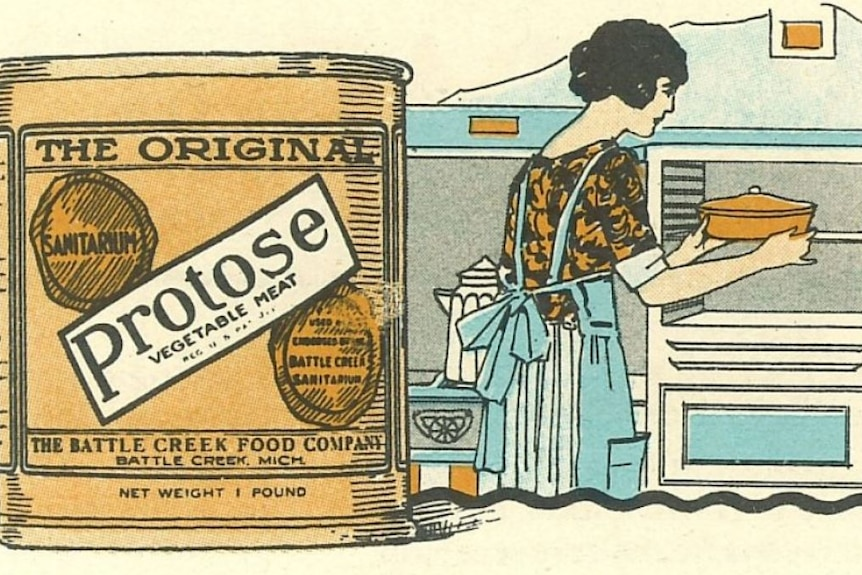 Old drawn advertisement of a tin of 'Protose' next to image of woman wearing apron putting pie into over.