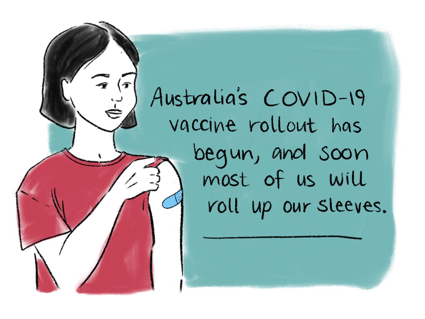 Vaccination comic scene 1. Read the transcript below.