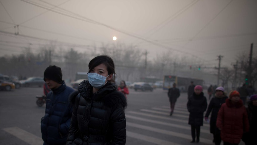 A woman wearing a mask crosses a road during severe pollution in Beijing on January 12, 2013.