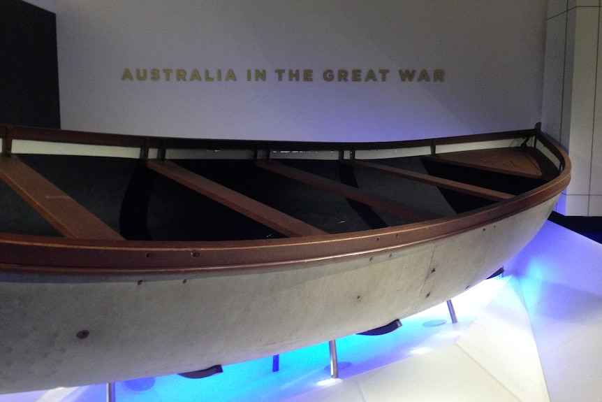 One of the boats used in the landing at Anzac Cove.
