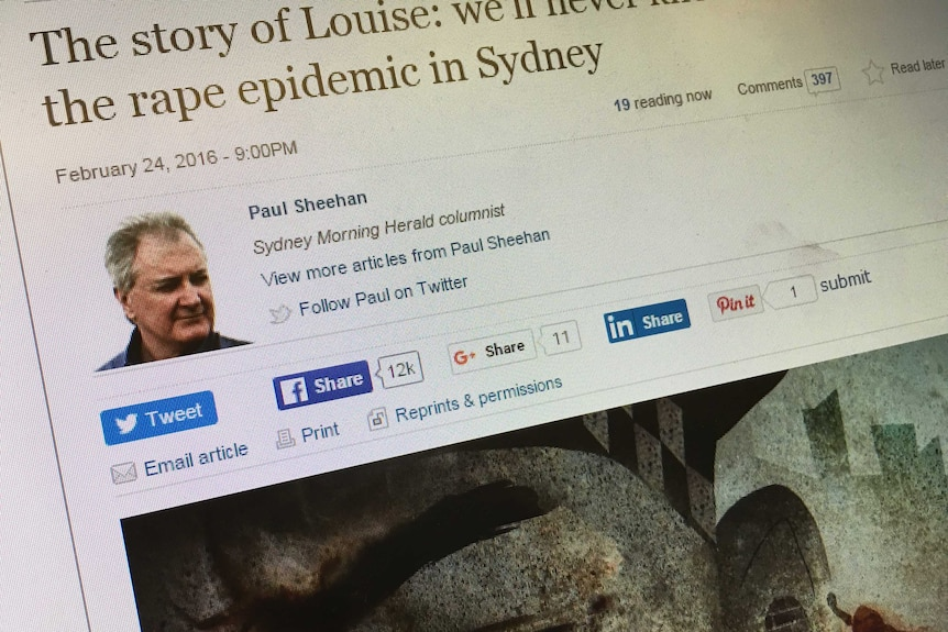 A screenshot of Paul Sheehan's article on the Sydney Morning Herald website