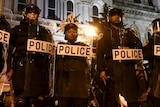 Baltimore riot police outside City Hall
