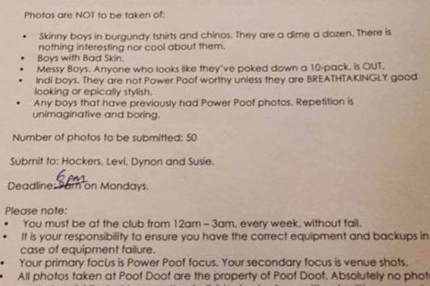 A photo of a photographers' brief given to those taking photos at gay dance party, Poof Doof.