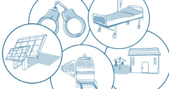 Illustrations of solar panels, handcuffs, a train, a hospital bed and a house.
