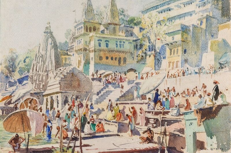 Watercolour painting depicting an Indian town