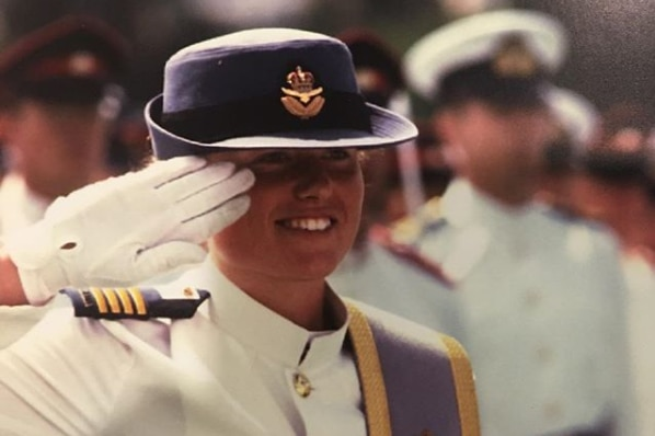 Kirstin Ferguson salutes the chief of the Defence Force during her ADFA graduation parade