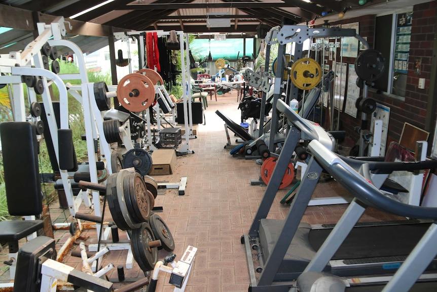 Gym equipment in a suburban backyard