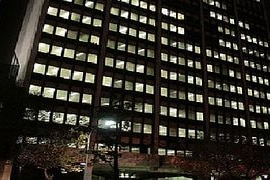 A large office building at night