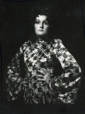 Black and white photo of Jackson wearing blouse with big, ballooning sleeves.
