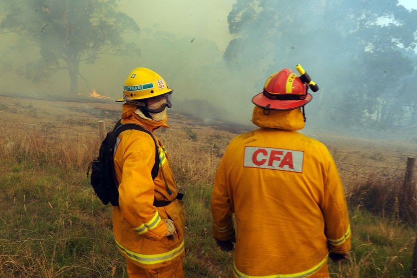 Two fire fighters are dressed in orange CFA gear and watch a fire nearby.