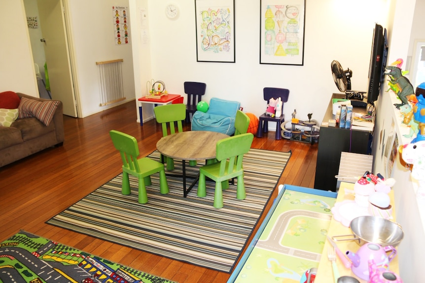 A small table and chairs in the middle of a play room inside Scope Family Centre in Nerang Queensland