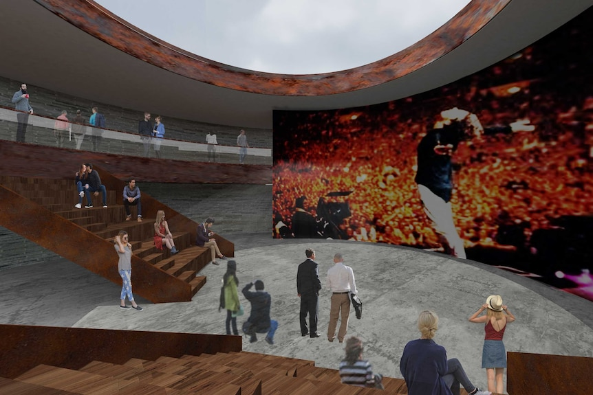 An artist's impression of the inside of a museum showing a band performing on a large stage.