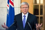 Prime Minister Kevin Rudd speaks to the media at Parliament House, Canberra