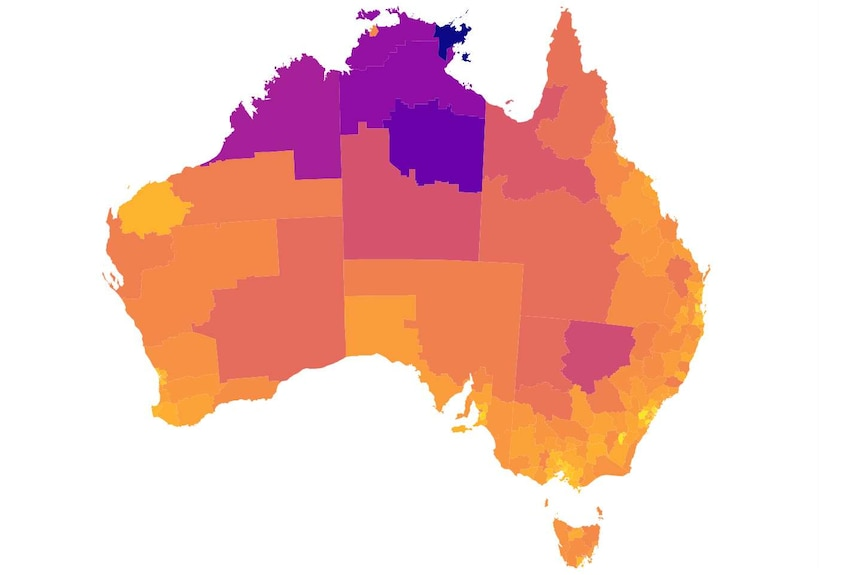 A colourful map of Australia, with dark colours in northern Australia.