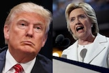 A composite image of Donald Trump and Hillary Clinton.