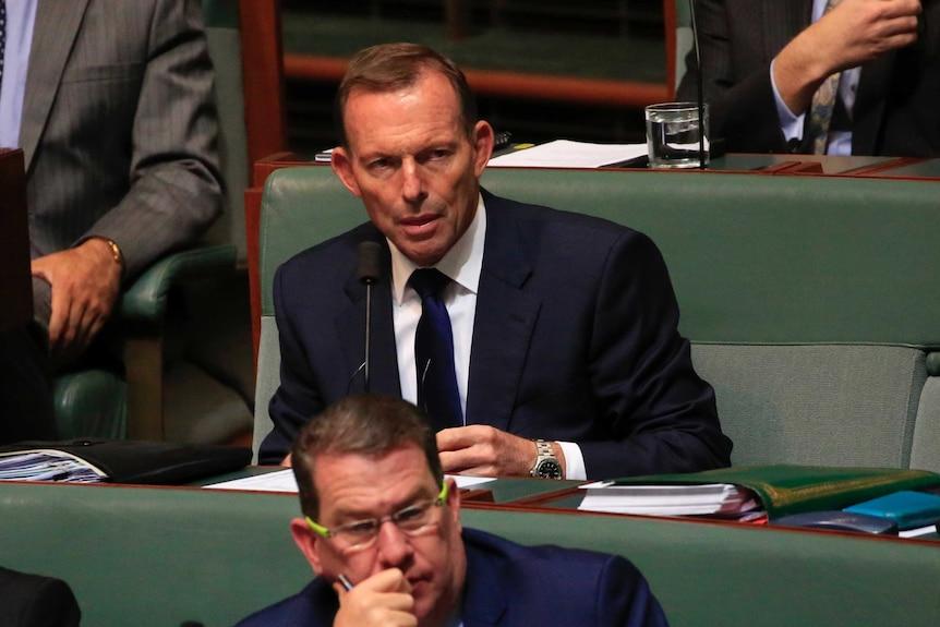 Tony Abbott sits in Parliament.