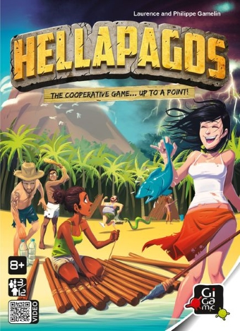 The box for board game Hellapagos with a group of illustrated people on a deserted island