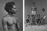 Two black and white photographs of Aboriginal men and one child.