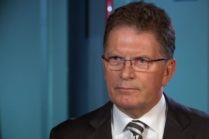 Ted Baillieu speaks during a television interview.