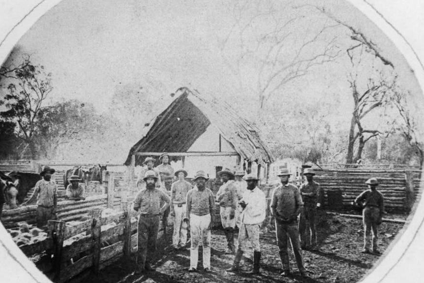 Drovers and farm hands at the sheep yards at Jimbour Station in 1869.