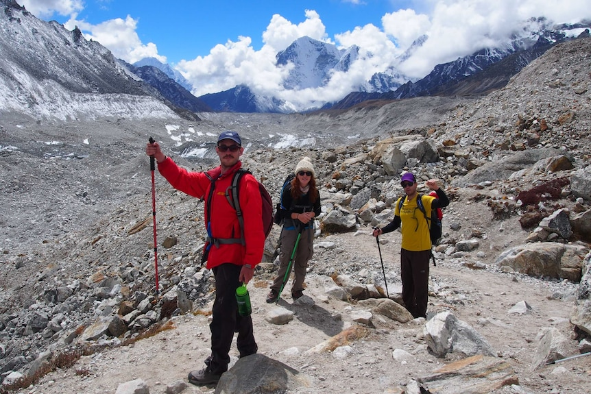 Ashley Prigent stands with others at Everest Base Camp