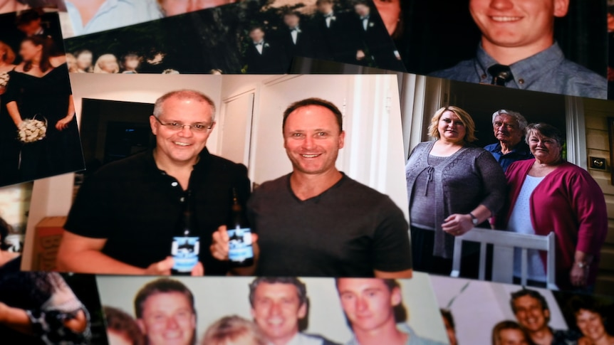A collage of photographs. One shows Scott Morrison and Tim Stewart. Others are of the Stewart family.