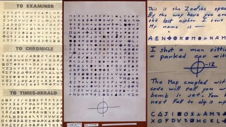 Three pages of handwritten letters, mostly in code, from the Zodiac killer.