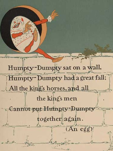 Illustration of Humpty Dumpty with the words of the rhyme
