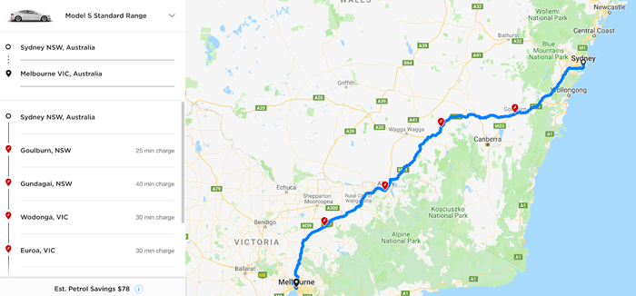 Screenshot of Tesla website showing Tesla chargers on the route from Sydney to Melbourne